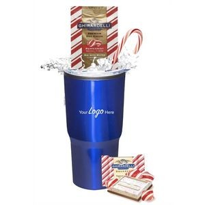 Holiday Peppermint Cocoa & Chocolate Gift Tumbler (Blue)