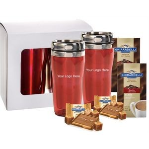 Holiday Red Tumblers with Cocoa & Chocolate