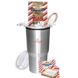 Holiday Peppermint Cocoa & Chocolate Gift Tumbler (Silver)