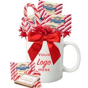 Ghirardelli Chocolate Peppermint Holiday Gift Mug (White)