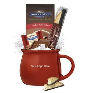 Glossy Red Mug with Cocoa & Chocolate