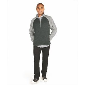Men's Quarter Zip Color Blocked Heathered Fleece