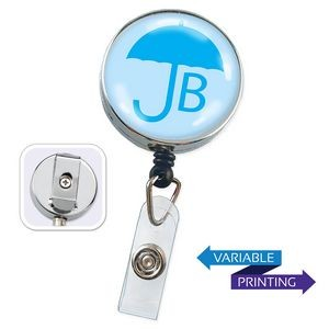 Chrome Heavy-Duty Custom Badge Reels with Belt Clip