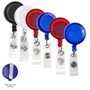 """Lorain SC"" RBR Blank 30"" Retractable Badge Reel with Metal Slip Clip Back"