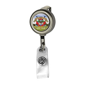 """Marion Matte"" Solid Metal Retractable Badge Reel & Badge Holder"