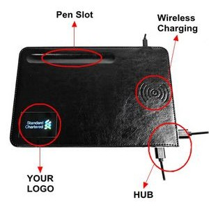Leather Wireless Charging Mouse Pad with Pen Slot and HUB 5W