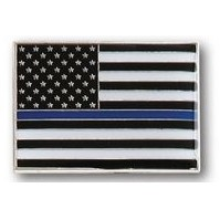 """Police Law Enforcement Support USA Flag"" Stock Pin"