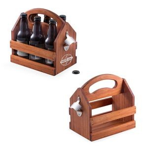 Natural Pine Wood Bottle Caddy.