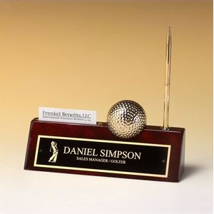 Golf Ball/ Clock on Rosewood Nameplate w/ Business Card Holder & Pen