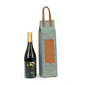 Wine Caddy - Grey Felt/Brown Trim
