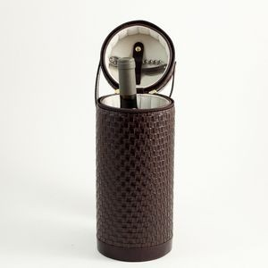 Wine Caddy w/Opener - Brown Leather