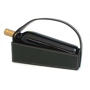 Wine Cradle - Black Leather