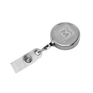 "30"" Chrome Solid Metal Badge Reel with Slip Clip"