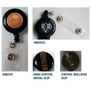 Retractable badge holder with die struck medallion