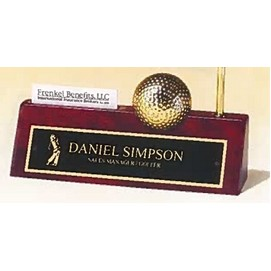 Airflyte® Rosewood Piano-Finish Name Plate w/Goldtone Metal Golfball Clock