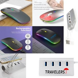 iBank(R) 4 Port USB Aluminum Hub + LED Wireless Mouse (Gray)
