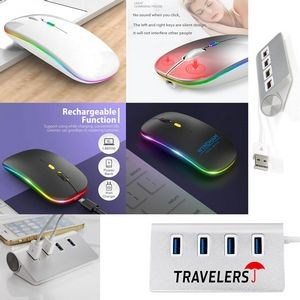 iBank(R) 4 Port USB Aluminum Hub + LED Wireless Mouse (White)