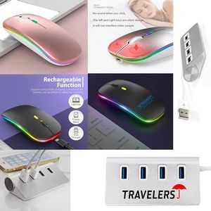 iBank(R) 4 Port USB Aluminum Hub + LED Wireless Mouse (Rose Gold)