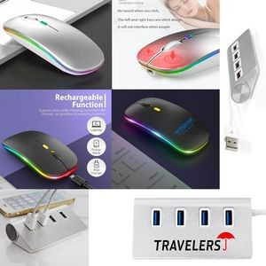 iBank(R) 4 Port USB Aluminum Hub + LED Wireless Mouse (Silver)