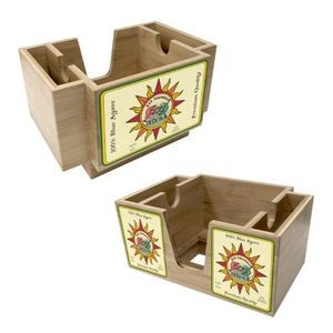 Blond Wood Three-Compartment Napkin Holder