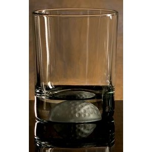 Golfer's Double Old Fashion Glass w/Etched Golf Ball on Glass Bottom