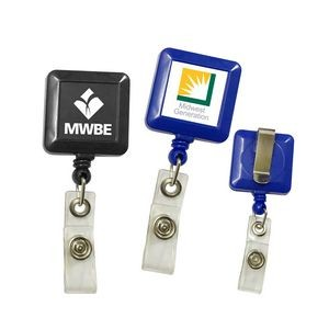Square Retractable Badge Holder (Close out)