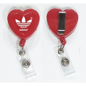 "Heart 29"" Retractable Badge Holder with Metal Clip on Back"