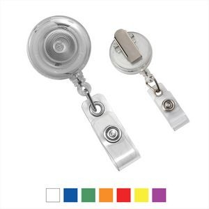 Round Translucent Plastic Clip-on Badge Reel