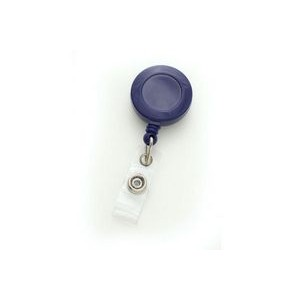 Custom Round Plastic Clip-On Badge Reel (Blue)