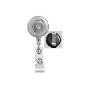 Round Translucent Plastic Badge Reel (Clear)
