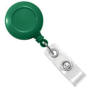 Custom Round Plastic Clip-On Badge Reel (Green)