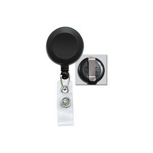 Round Plastic Clip-On Fast Ship Badge Reel (Black)