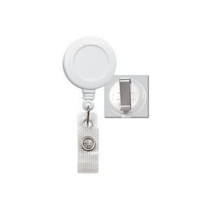 Round Plastic Clip-On Fast Ship Badge Reel (White)
