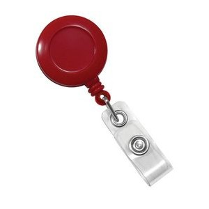 Custom Round Plastic Clip-On Badge Reel (Red)