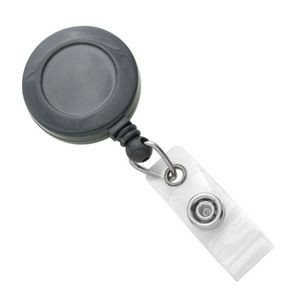 Custom Round Plastic Clip-On Badge Reel (Gray)