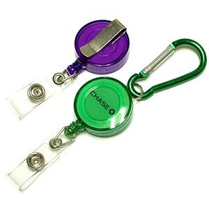 Round Retractable Badge Reel with Carabiner